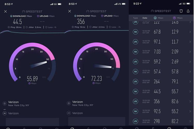 Hasil uji coba jaringan 5G Verizon yang digelar menggunakan sistem DSS