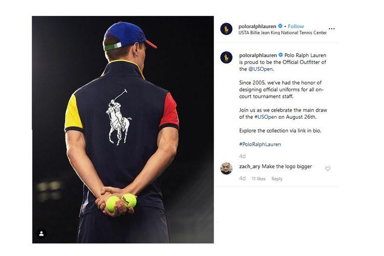 Salah satu model seragam ballperson turnamen tenis US Open 2019 yang dibuat dari proses daur ulang kemasan botol plastik.