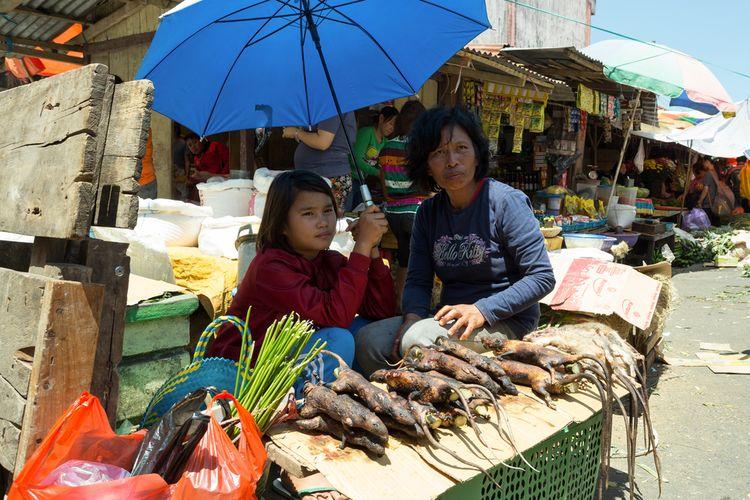 Ilustrasi penjual tikus hutan di Pasar Tomohon, Sulawesi Utara.