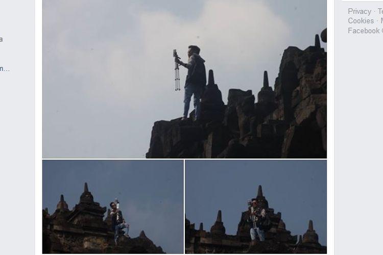 Seorang pria memanjat Candi Borobudur