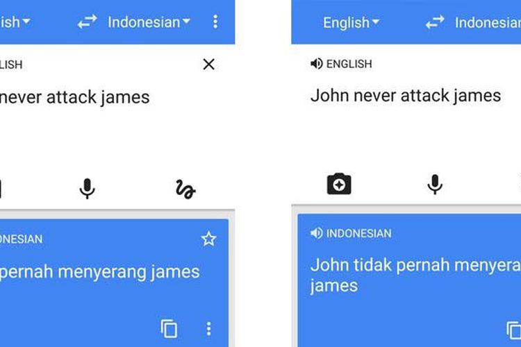 Contoh hasil terjemahan yang keliru pada Google Translate di smartphone Android