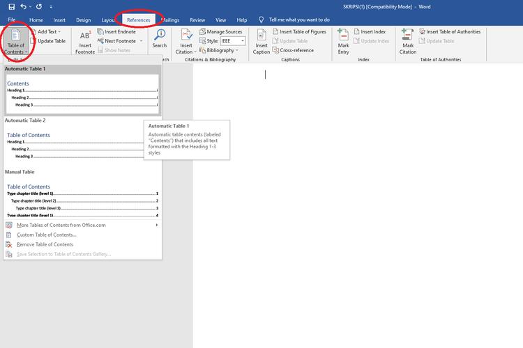 Cara membuat daftar isi di Microsoft Word berbasis Windows 10.