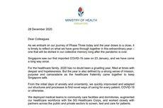Menkes Singapura Kirim Surat untuk Tenaga Kesehatan, Begini Isinya
