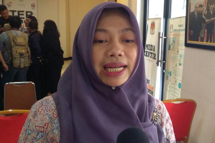 Direktur Eksekutif Perkumpulan untuk Pemilu dan Demokrasi (Perludem) Titi Anggraini di KPU RI, Jakarta, Rabu (31/1/2018).