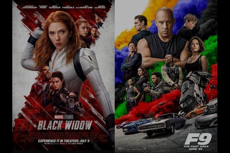 Poster film Black Widow dan Fast and Furious 9.