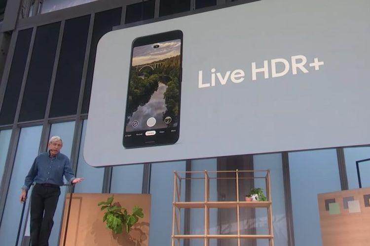 Pembuat teknologi kamera Google Pixel, Marc Levoy, saat memamerkan teknologi kamera Pixel 4 di ajang Made By Google 2019.