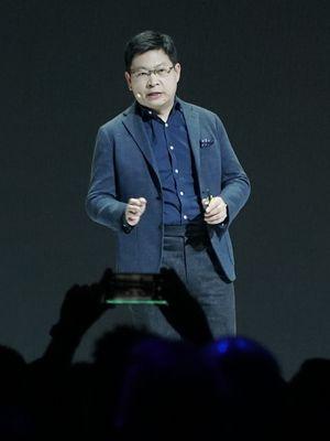 CEO Huawei Richard Yu saat berbicara dalam acara peluncuran Huawei Mate 30 dan Mate 30 Pro di Munich, Jerman, Kamis (19/9/2019).