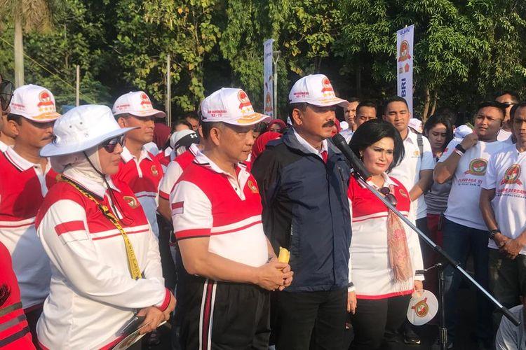 Panglima TNI Marsekal Hadi Tjahjanto usai melakukan olahraga pagi bersama Kapolri Jenderal Pol Tito Karnavian di Lapangan Silang Monas, Jakarta Pusat, Minggu (7/7/2019) pagi.
