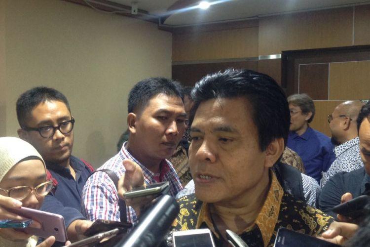 Direktur Jenderal Perhubungan Udara Kementerian Perhubungan Agus Santoso di Kantor Kementerian Perhubungan Jakarta, Jumat (17/3/2017).