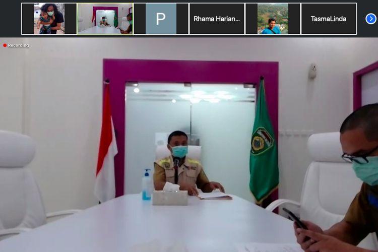 Juru Bicara Gugus Tugas Penanganan Covid-19 Sumatera Selatan Yusri dalam konfrrensi pers yang disiarkan secara langsung, Senin (6/4/2020).