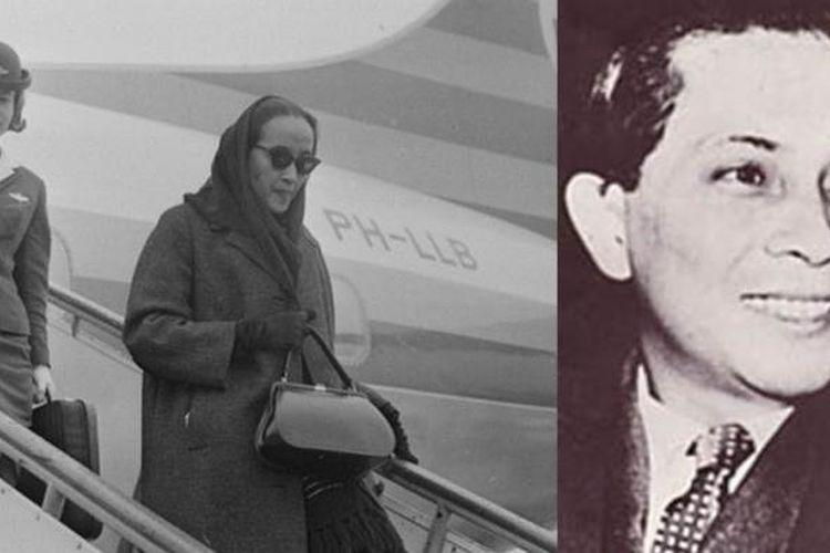 Maria Duchateau saat tiba di Bandara Schipol, Belanda (kiri) dan Sutan Sjahrir (kanan).