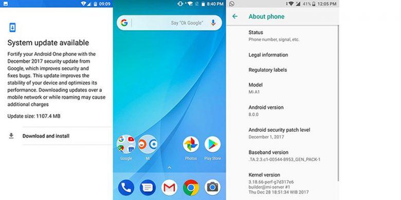 Update Android Oreo di Xiaomi Mi A1.