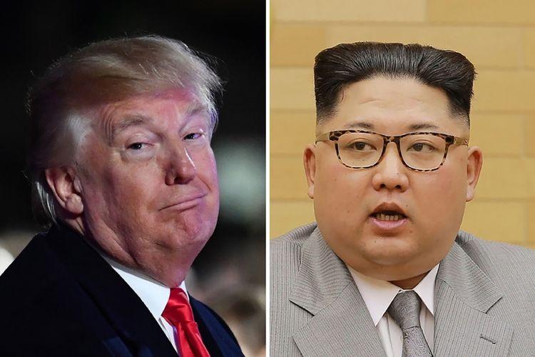 Presiden Amerika Serikat Donald Trump (kiri) dan Pemimpin Korea Utara Kim Jong Un (kanan). (AFP/Nicholas Kamm/KCNA Via KNS)