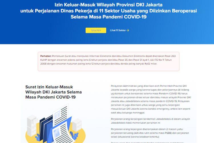 Tangkapan layar Proses Pengurusan Surat Izin Keluar-Masuk Wilayah DKI Jakarta