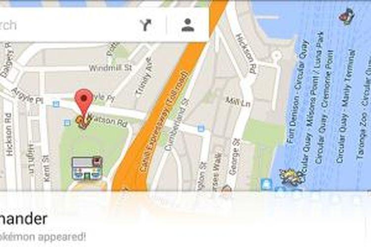 Tokoh-tokoh Pokemon di Google Maps