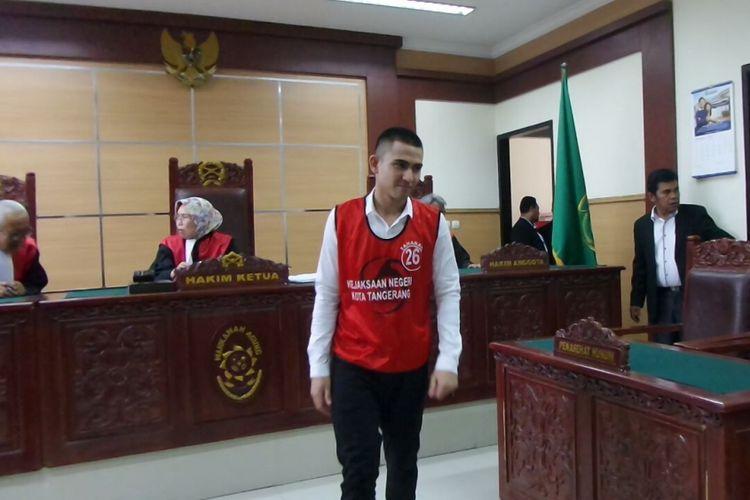 Axel Matthew Thomas menjalani sidang kasus narkoba di Pangadilan Negeri Tangerang, Rabu (25/10/2017).