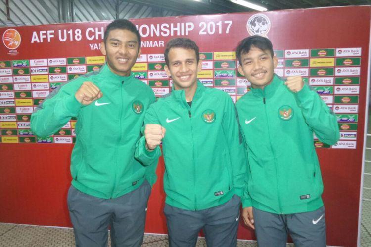 Tiga pemain timnas U-19 Indonesia, M Rafli, Egy Maulana Vikri, dan Witan.