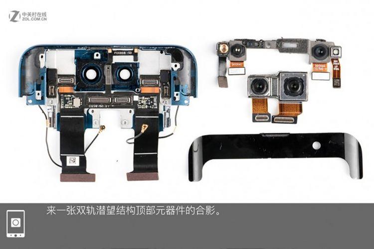 Modul kamera depan di sisi kiri atas gambar terdiri dari (dari kanan ke kiri) proyektor titik infra merah, kamera selfie 25 megapiksel , kamera infra merah, dan fill light infra merah. Komponen-komponen ini digunakan untuk pemetaan wajah secara tiga dimensi. Di bawahnya terdapat kamera ganda di bagian punggung, masing-masing dengan resolusi 20 megapiksel dan 16 megapiksel.