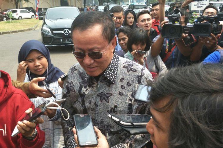 Sekretaris Majelis Tinggi Partai Demokrat Amir Syamsuddin di kediaman SBY, Kamis (9/8/2018).