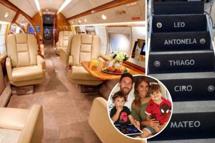 Isi jet pribadi Lionel Messi. Messi dan keluarga sudah mulai menggunakannya sejak 2018.