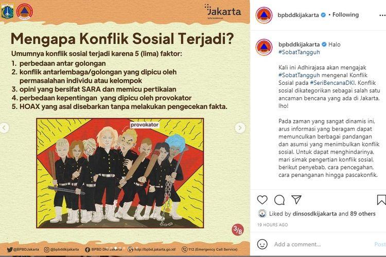 Konten Sosialisasi BPBD DKI Jakarta dalam mencegah konflik sosial menggunakan karakter dan alur cerita mirip anime Tokyo Revengers