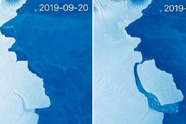 Penampakan gunung es D28, seberat 315 miliar ton, yang terlepas dari daratan Antarktika.