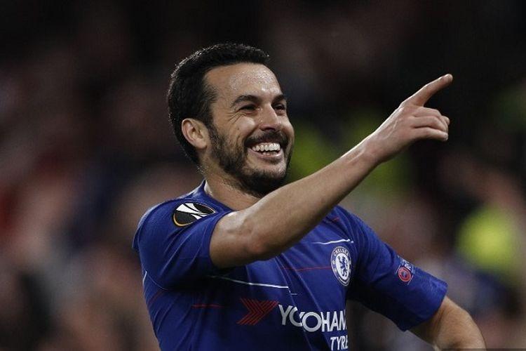 Gelandang Chelsea Pedro merayakan gol saat pertandingan leg kedua perempat final Liga Europa antara Chelsea vs Slavia Praha di Stadion Stamford Bridge pada 18 April 2019.