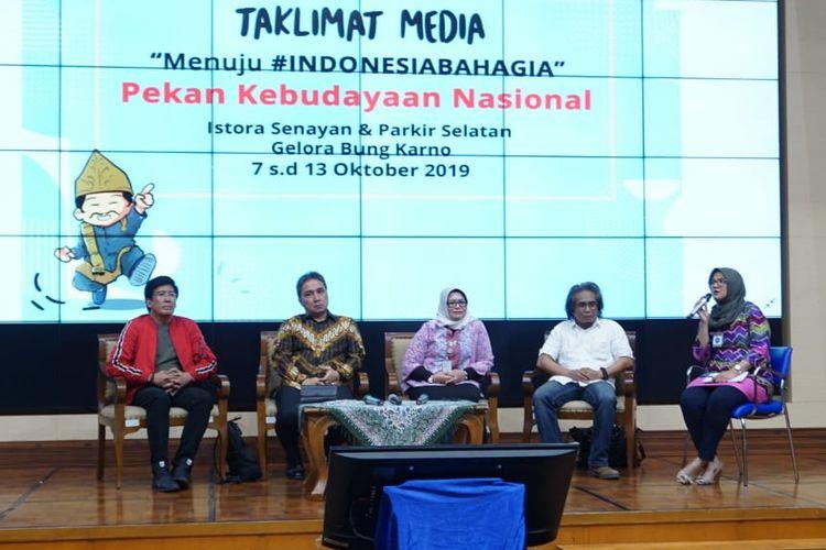 Taklimat Media terkait Pelaksanaan Pekan Kebudayaan Nasional pada Jumat, 13 September 2019, di Kompleks Kemendikbud, Jakarta.