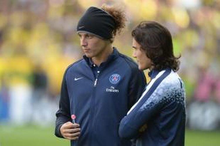 David Luiz dan Edinson Cavani jelang laga PSG vs Nantes, September 2015.