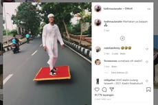 Video Viral Pria Naik Karpet Terbang seperti Aladdin di Jalanan, Seperti Apa Ceritanya?