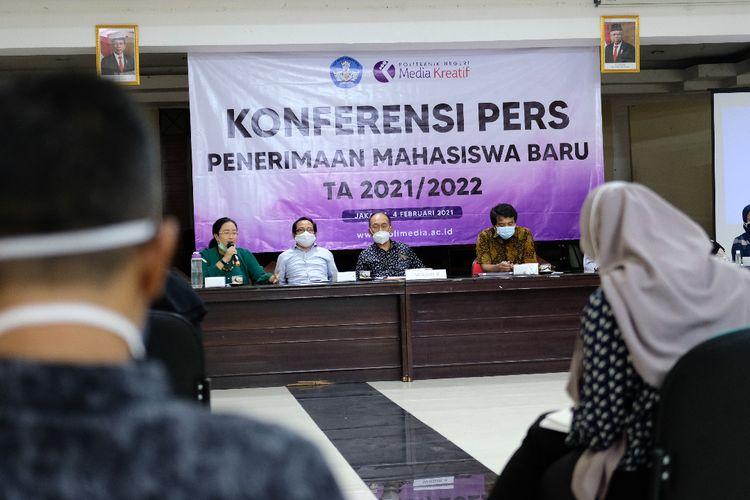 Konferensi pers Penerimaan Mahasiswa Baru (PMB) Polimedia Tahun Akademik 2021/2022 yang digelar 4 Februari 2021.