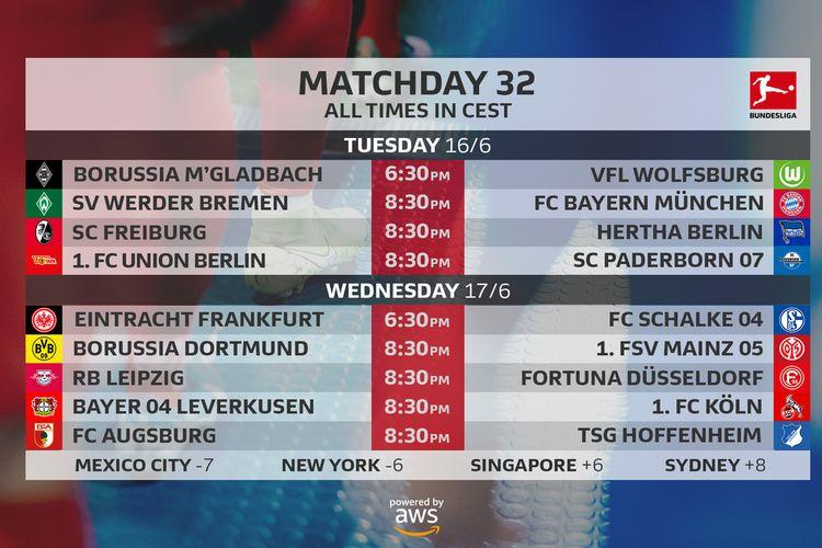 Jadwal partai lanjutan pekan ke-32 Bundesliga