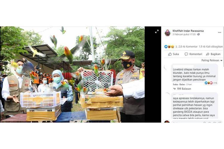 Tangkapan layar halaman Facebook Khofifah Indar Parawansa soal pelepasliaran burung Lovebird.