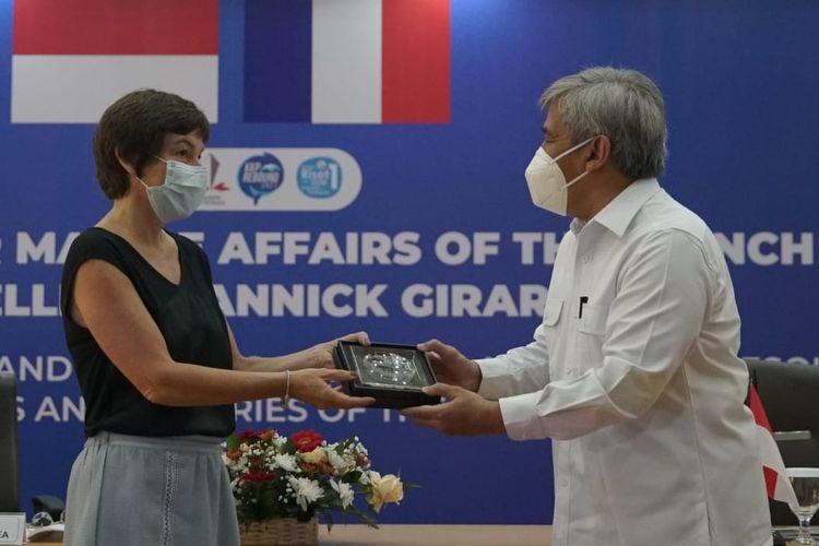 BRSDM Kementerian KP menerima kunjungan Menteri Kelautan Prancis Annick Girrardin di Kantor BRSDM, Ancol, Jakarta Utara, Kamis (10/6/2021) pagi.