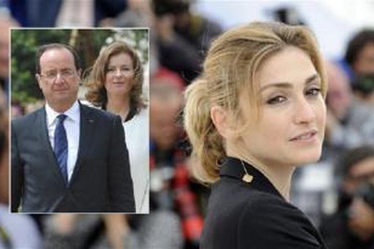 Presiden Francois Hollande dan Valerie Trierweiler (inset kiri) dan aktris Perancis Julie Gayet