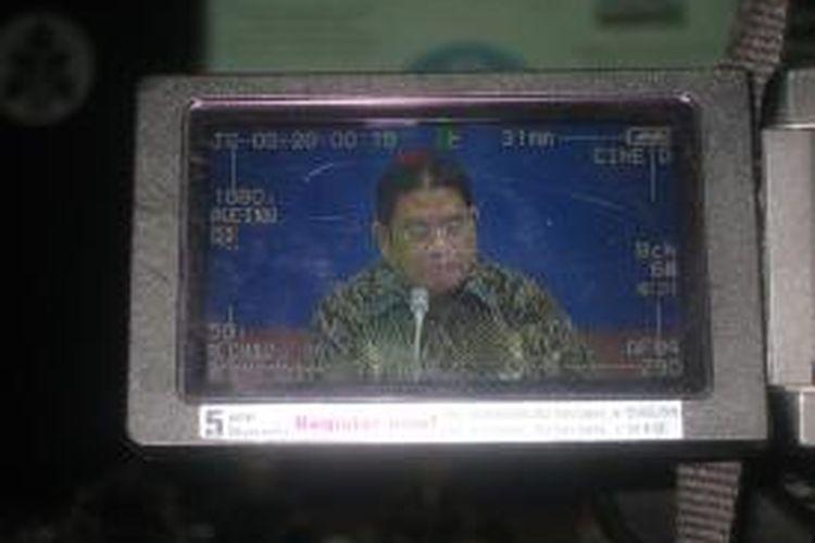 Direktur Utama Taspen Iqbal Latanro saat memaparkan kinerja perusahaan di Kantor Pusat Taspen, Jakarta.
