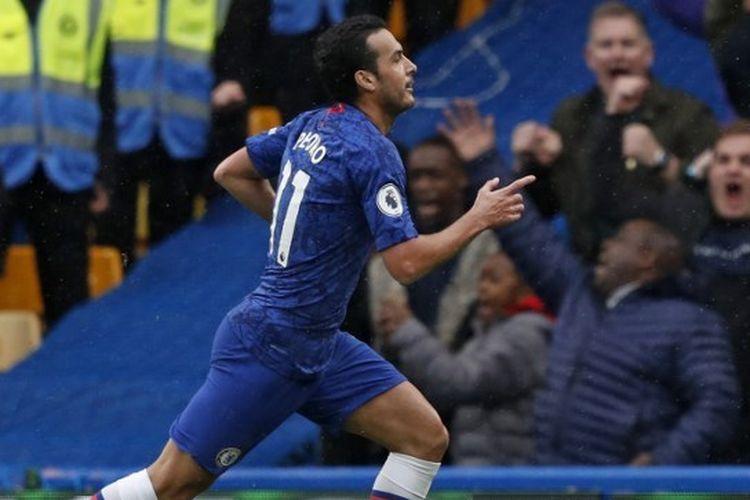 Selebrasi Pedro dalam laga Chelsea vs Everton di Stamford Bridge, Minggu (8/3/2020), pada pekan ke-29 Liga Inggris