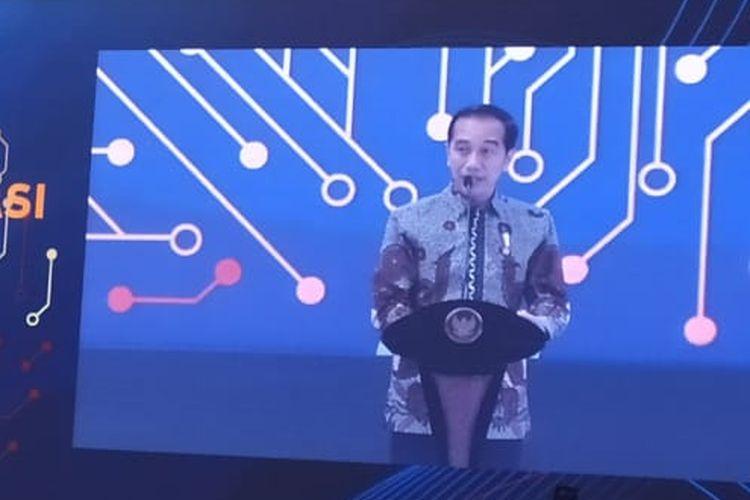 Presiden Joko Widodo (Jokowi) saat memberi arahan dalam Pertemuan Tahunan Bank Indonesia di jakarta, Kamis (29/11/2019).