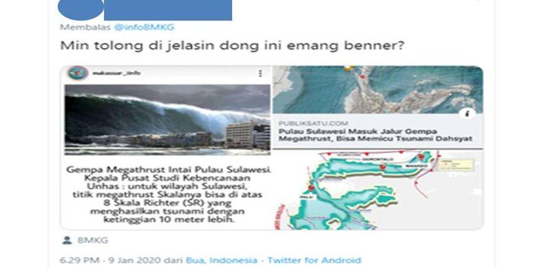 Tangkapan layar pertanyaan warganet ke BMKG mengenai zona megathrust Sulawesi