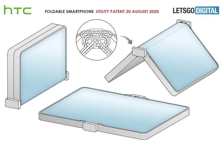 Desain paten ponsel lipat HTC.