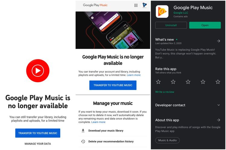 Ilustrasi tampilan aplikasi Google Play Music ketika diakses di bulan Desember 2020.