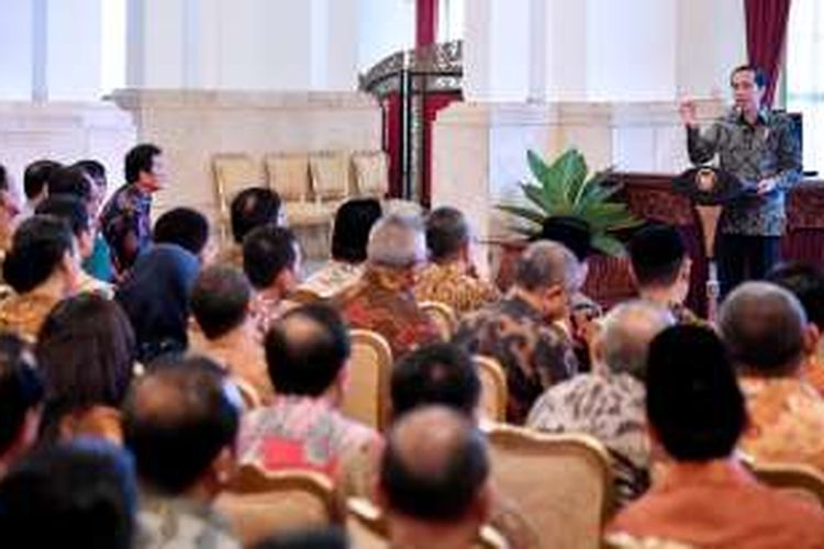 Presiden Joko Widodo saat membuka Rapat Kerja Nasional Akuntansi dan Pelaporan Keuangan Pemerintah di Istana Negara, Selasa (20/9/2016).