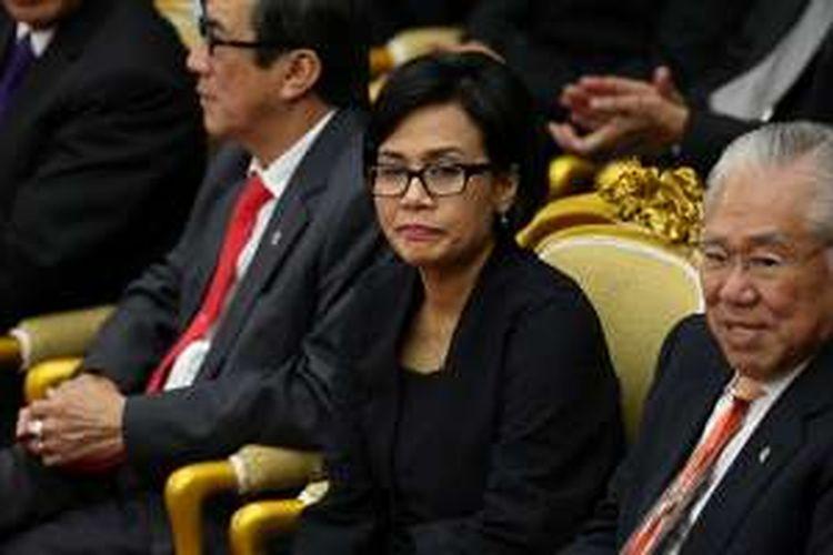Menteri Keuangan Sri Mulyani Indrawati menghadiri sidang tahunan Majelis Permusyawaratan Rakyat Republik Indonesia Tahun 2016 di Kompleks Parlemen, Senayan, Jakarta, Selasa (16/8/2016).  Dalam sidang tahunan ini Presiden Joko Widodo membacakan pidato kenegaraan.
