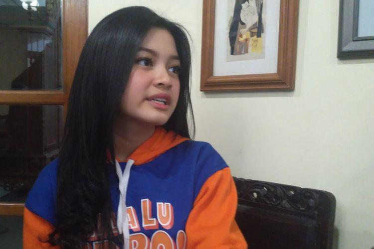 Aktris muda Yoriko Angeline saat ditemui dalam media gathering film Gila Lu Ndru! di kawasan Duren Tiga, Jakarta Selatan, Selasa (21/8/2018).
