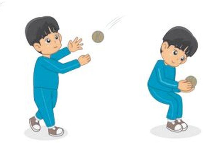Ilustrasi menangkap bola dalam permainan kasti