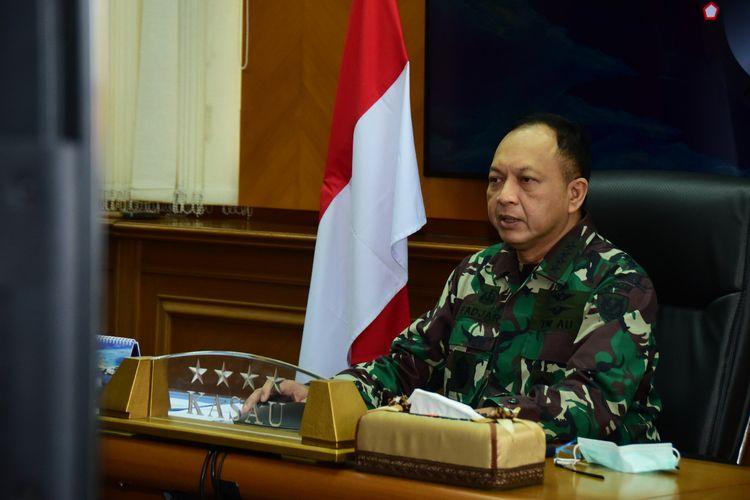 Kepala Staf Angkatan Udara (KSAU) Marsekal Fadjar Prasetyo dalam entry briefing dalam telekonferensi di Gedung Raden Suryadi Suryadarma Mabesau, Cilangkap, Jakarta Timur, Selasa (26/5/2020).
