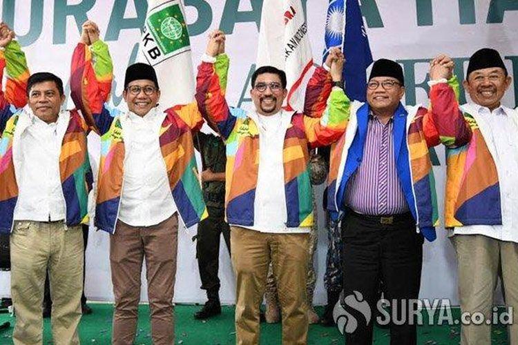 Kelima pimpinan parpol pengusung memberikan dukungan kepada Machfud Arifin untuk maju pada Pilwali 2020, Minggu (26/1/2020).
