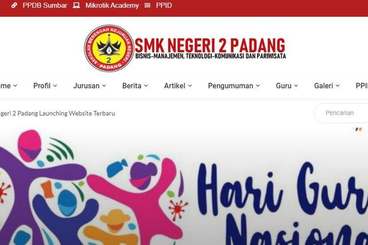Tampilan website SMKN 2 Padang