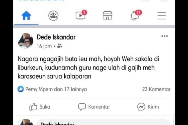 Status facebook yang dianggap menghina guru