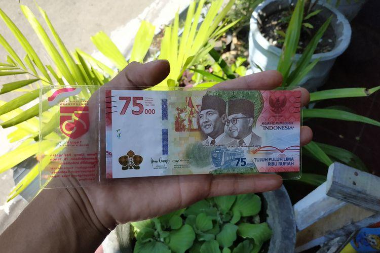 Uang Peringatan Kemerdekaan 75 Tahun Republik Indonesia berupa pecahan Rp 75.000.